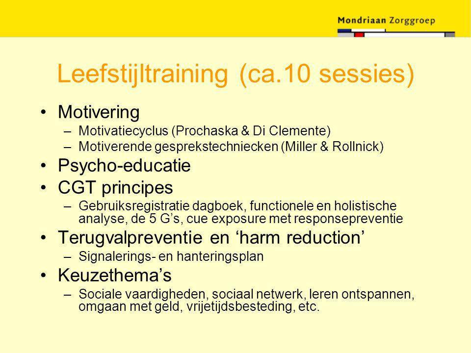 Leefstijltraining (ca.10 sessies) Motivering –Motivatiecyclus (Prochaska & Di Clemente) –Motiverende gesprekstechniecken (Miller & Rollnick) Psycho-ed