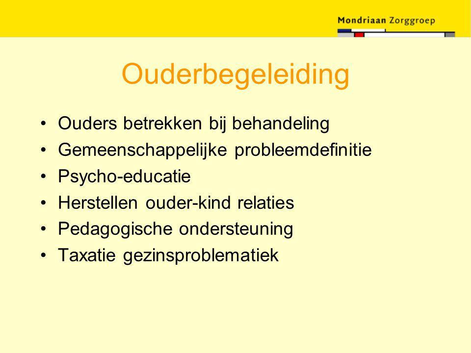 Ouderbegeleiding Ouders betrekken bij behandeling Gemeenschappelijke probleemdefinitie Psycho-educatie Herstellen ouder-kind relaties Pedagogische ond