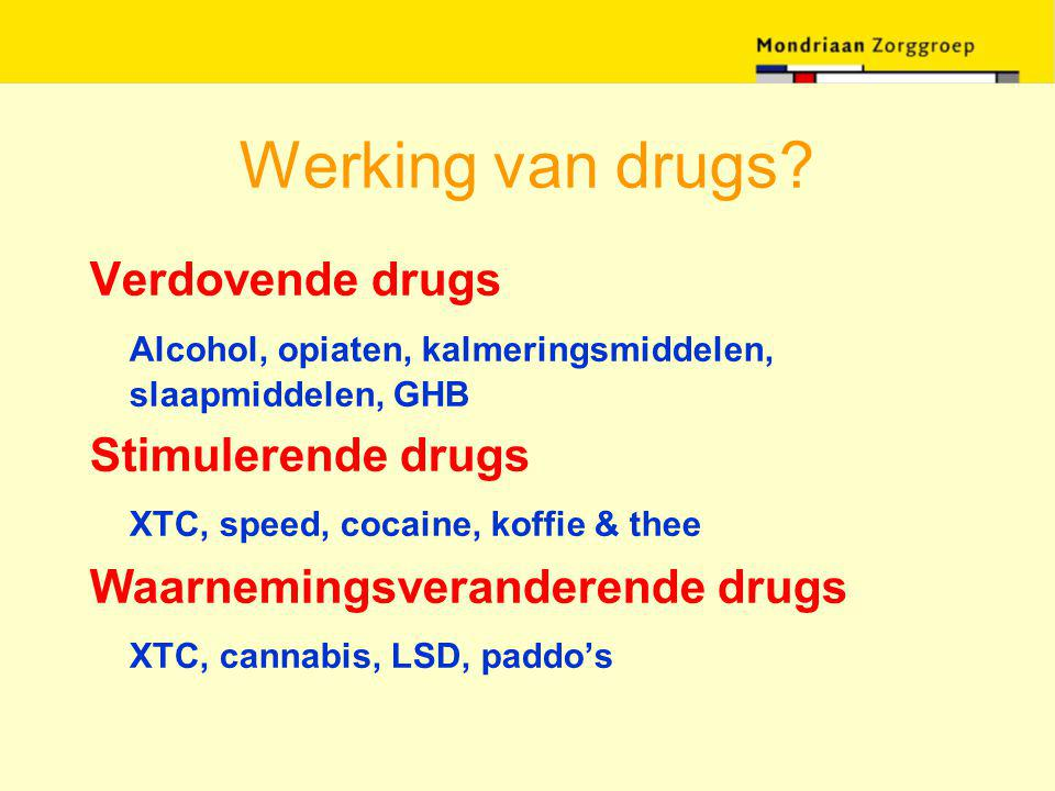 Werking van drugs? Verdovende drugs Alcohol, opiaten, kalmeringsmiddelen, slaapmiddelen, GHB Stimulerende drugs XTC, speed, cocaine, koffie & thee Waa