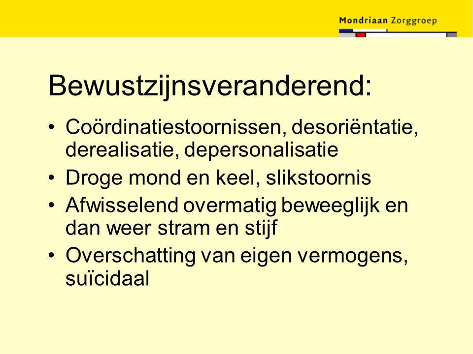 Bewustzijnsveranderend: Coördinatiestoornissen, desoriëntatie, derealisatie, depersonalisatie Droge mond en keel, slikstoornis Afwisselend overmatig b