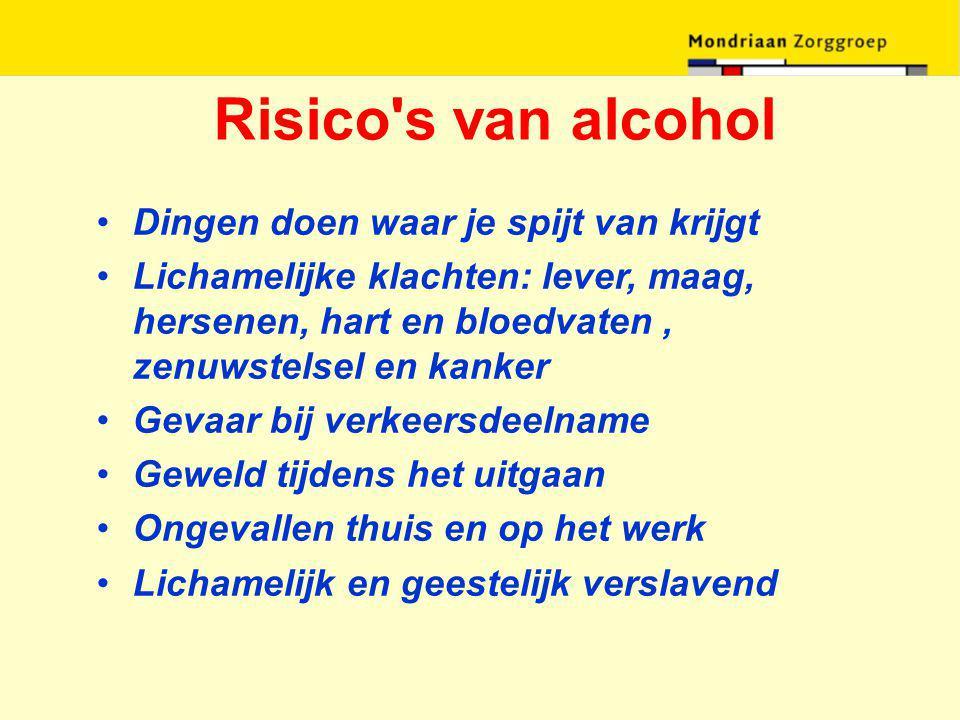 Risico's van alcohol Dingen doen waar je spijt van krijgt Lichamelijke klachten: lever, maag, hersenen, hart en bloedvaten, zenuwstelsel en kanker Gev