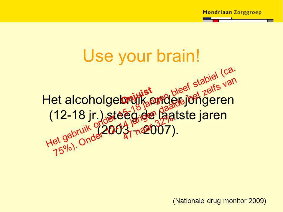 Use your brain! Het alcoholgebruik onder jongeren (12-18 jr.) steeg de laatste jaren (2003 – 2007). Onjuist Het gebruik onder 15-18 jarigen bleef stab