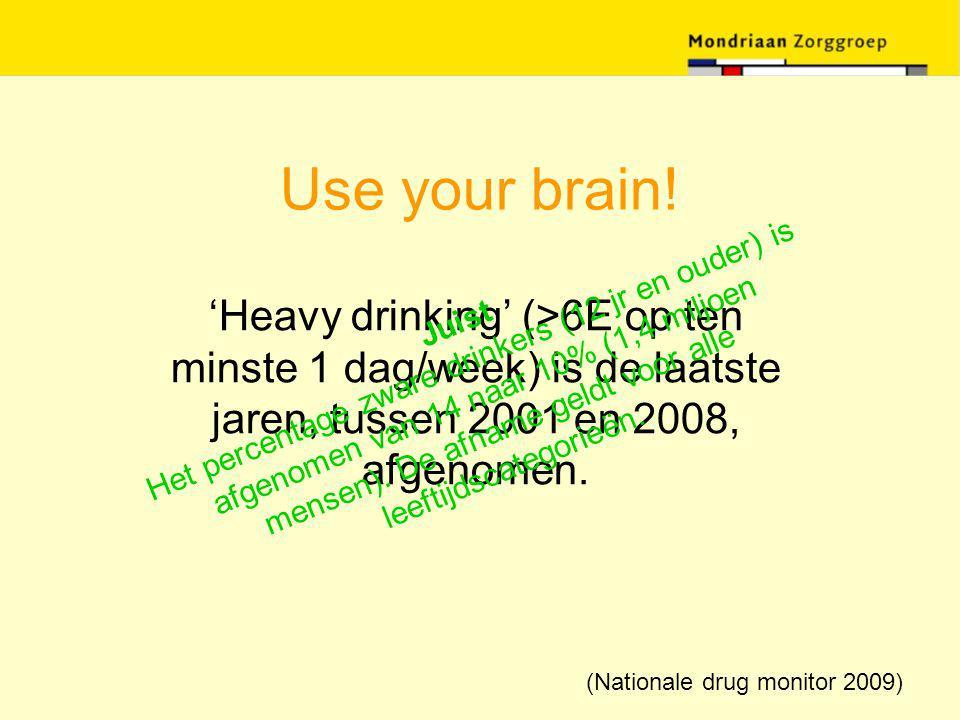 Use your brain! 'Heavy drinking' (>6E op ten minste 1 dag/week) is de laatste jaren, tussen 2001 en 2008, afgenomen. Juist Het percentage zware drinke