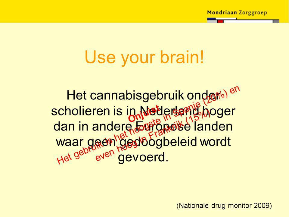 Use your brain! Het cannabisgebruik onder scholieren is in Nederland hoger dan in andere Europese landen waar geen gedoogbeleid wordt gevoerd. Onjuist