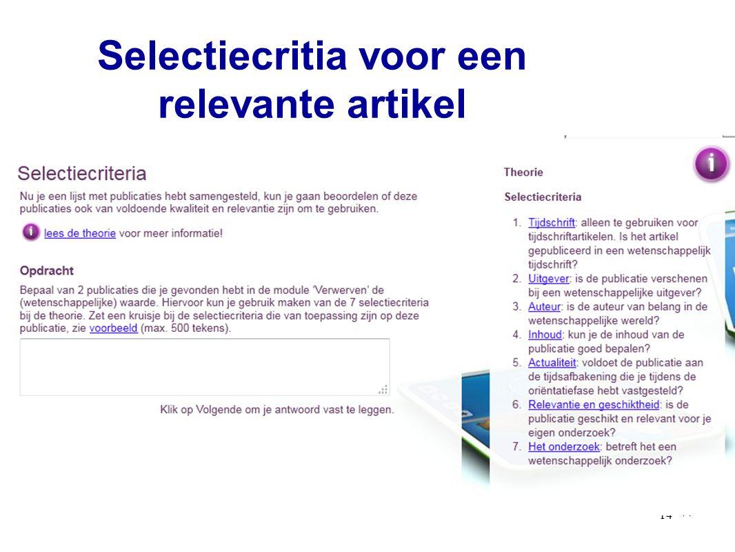 14 Selectiecritia voor een relevante artikel 14
