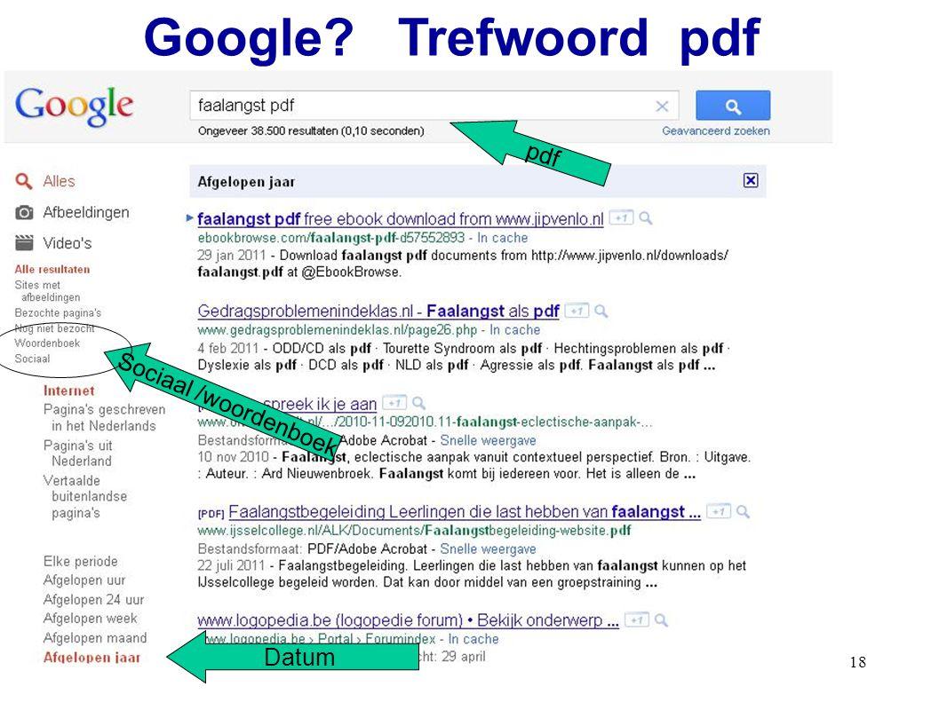 18 pdf Sociaal /woordenboek Google? Trefwoord pdf Datum