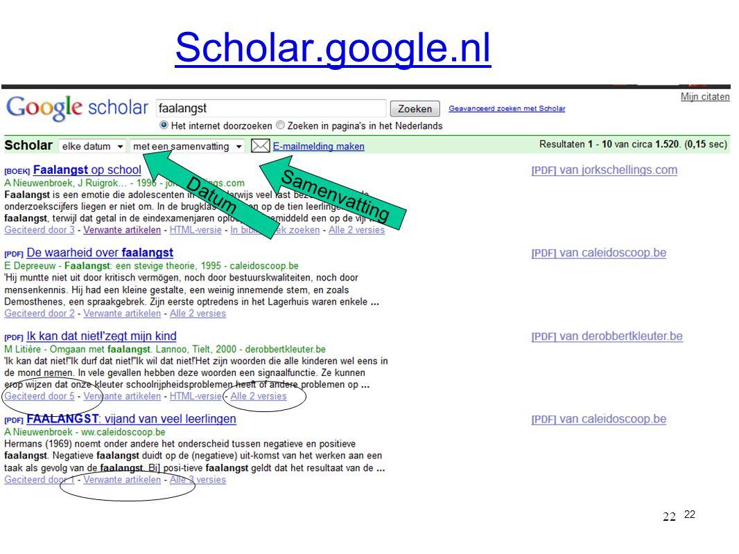 22 Scholar.google.nl 22 Datum Samenvatting