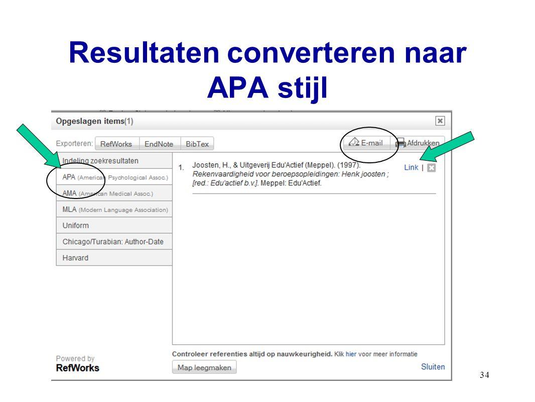 Resultaten converteren naar APA stijl 34