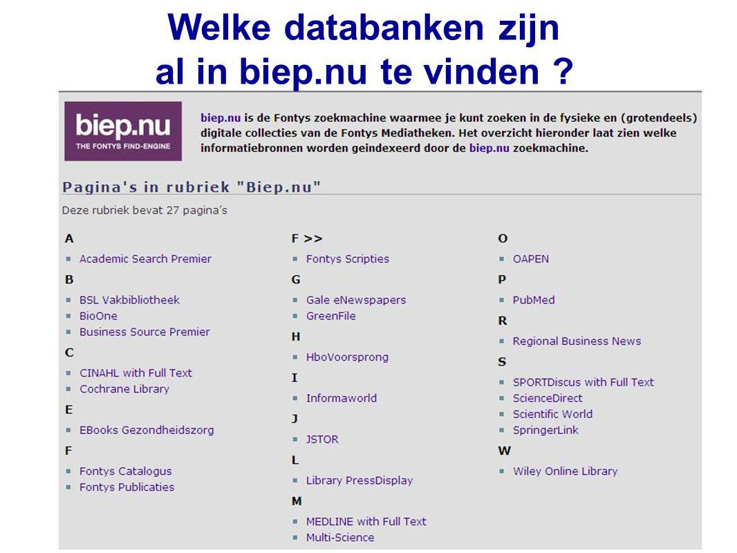 37 Welke databanken zijn al in biep.nu te vinden ?