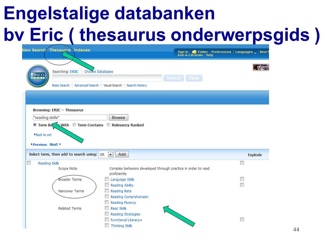 44 Engelstalige databanken bv Eric ( thesaurus onderwerpsgids )