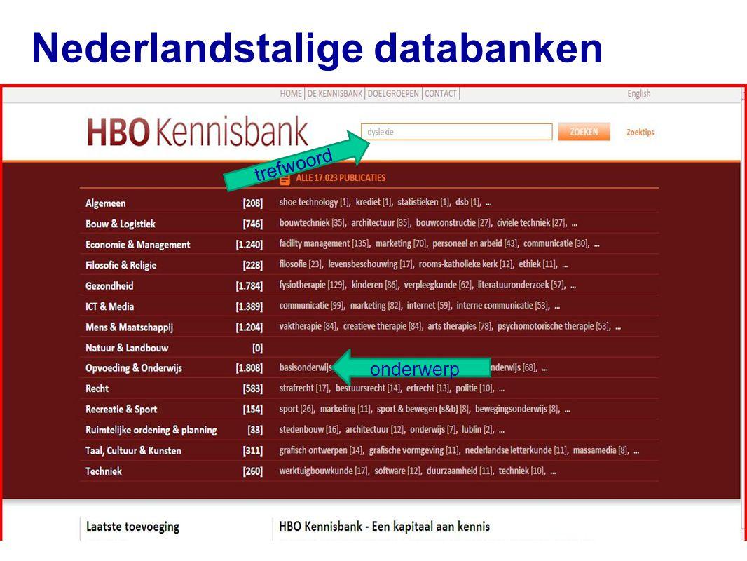 Nederlandstalige databanken 47 trefwoord onderwerp