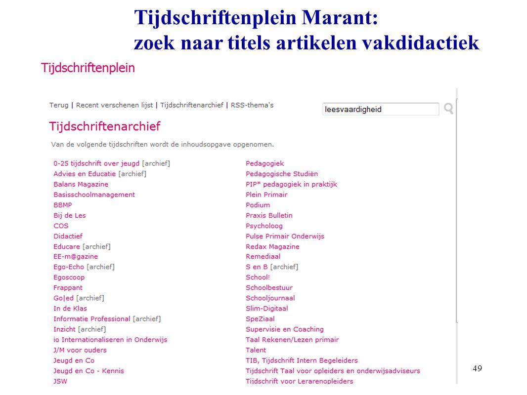 49 Tijdschriftenplein Marant: zoek naar titels artikelen vakdidactiek