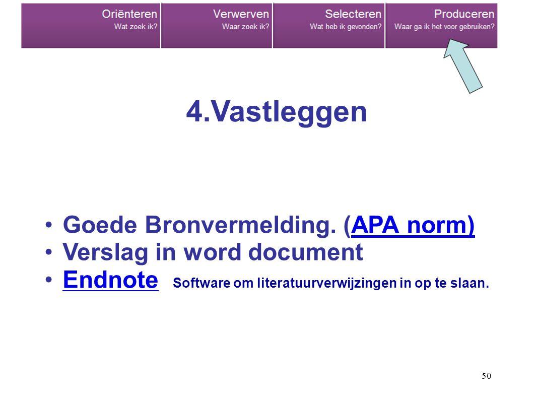 50 Goede Bronvermelding. (APA norm)APA norm) Verslag in word document Endnote Software om literatuurverwijzingen in op te slaan.Endnote 4.Vastleggen