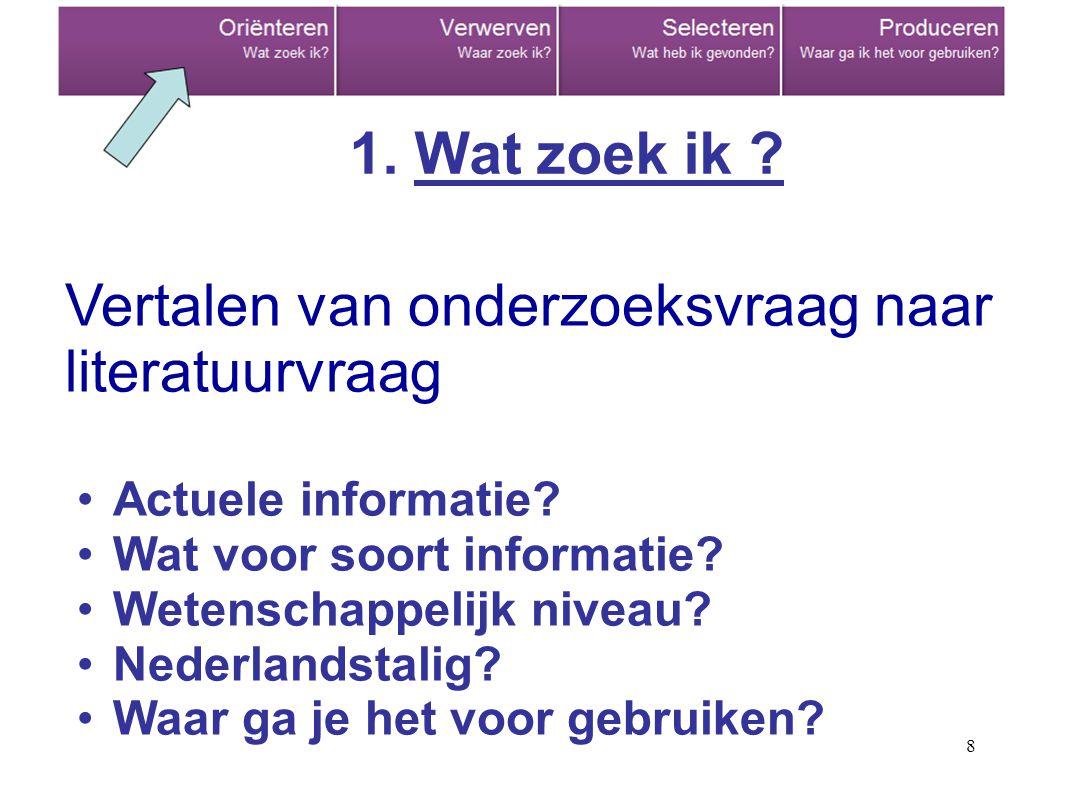 8 Vertalen van onderzoeksvraag naar literatuurvraag Actuele informatie? Wat voor soort informatie? Wetenschappelijk niveau? Nederlandstalig? Waar ga j