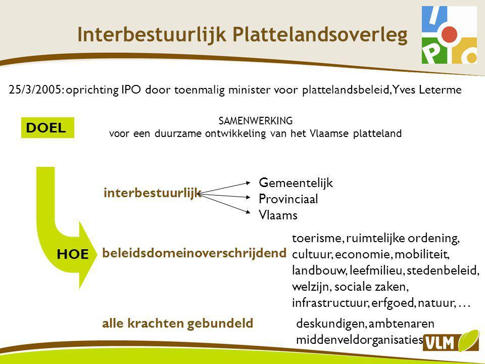 Interbestuurlijk Plattelandsoverleg OVERLEGSTRUCTUUR IPO-raad BESTUURLIJK OVERLEG ONDER- STEUNEND OVERLEG kerngroep themagroepen 9 Vlaamse ministers, 5 provinciale gedeputeerden, 5 burgemeesters Overheden, maatschappelijke organisaties, deskundigen ?!