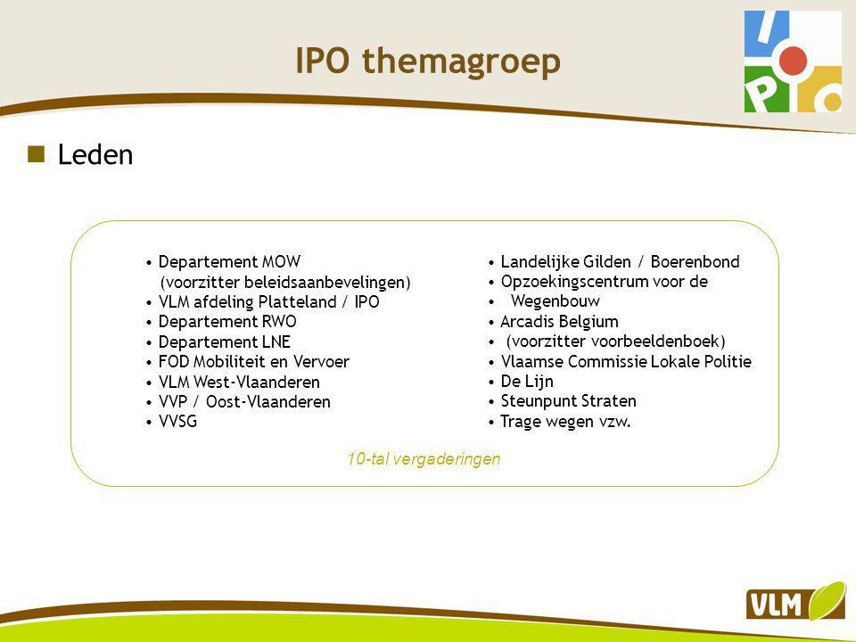 IPO themagroep Problematiek landelijke wegen Wegen aangepast aan agrarisch gebruik Relatief breed i.v.m.