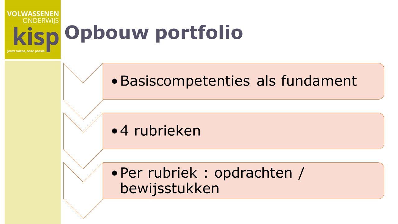 Opbouw portfolio Basiscompetenties als fundament4 rubrieken Per rubriek : opdrachten / bewijsstukken