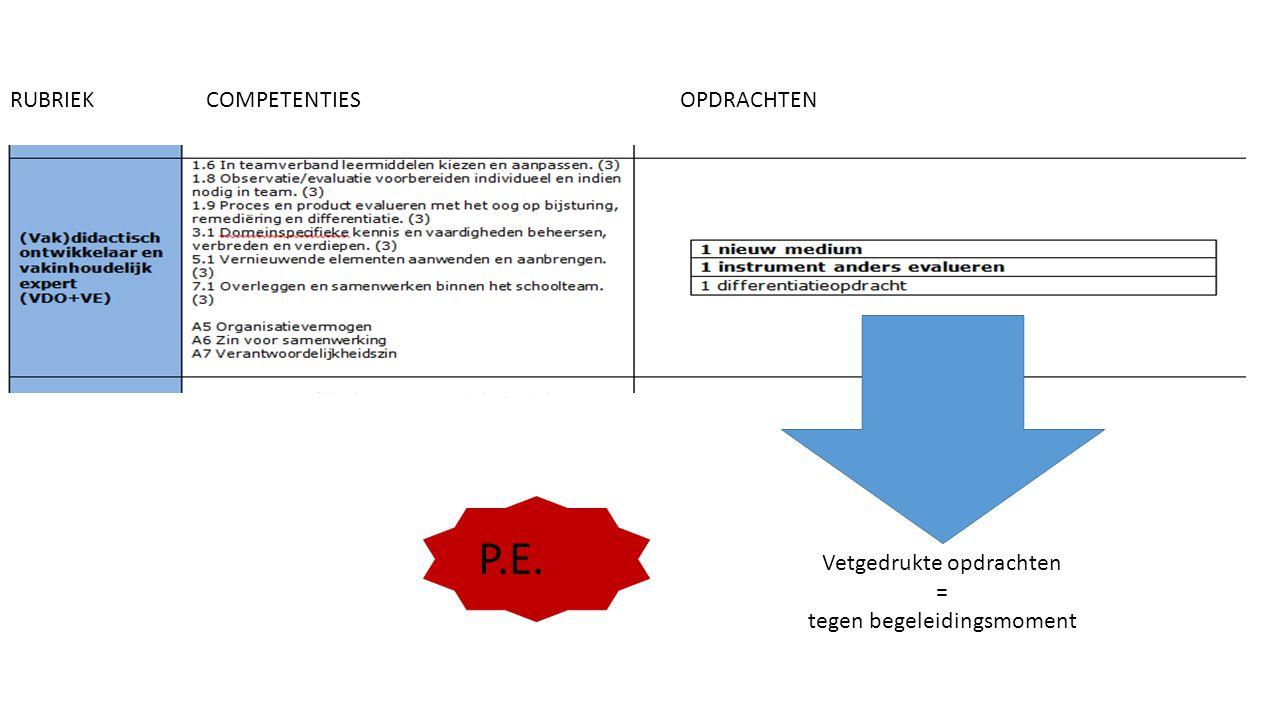 RUBRIEKCOMPETENTIESOPDRACHTEN Vetgedrukte opdrachten = tegen begeleidingsmoment P.E.
