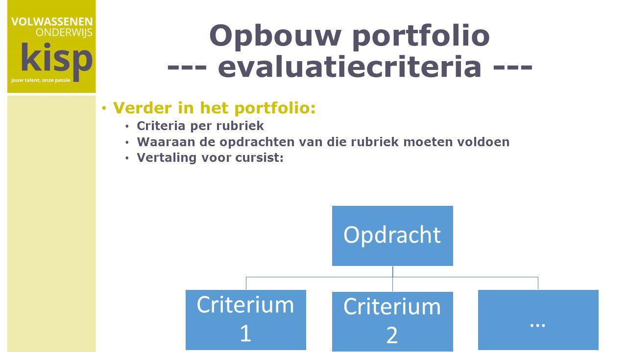 Opbouw portfolio --- evaluatiecriteria --- Verder in het portfolio: Criteria per rubriek Waaraan de opdrachten van die rubriek moeten voldoen Vertalin