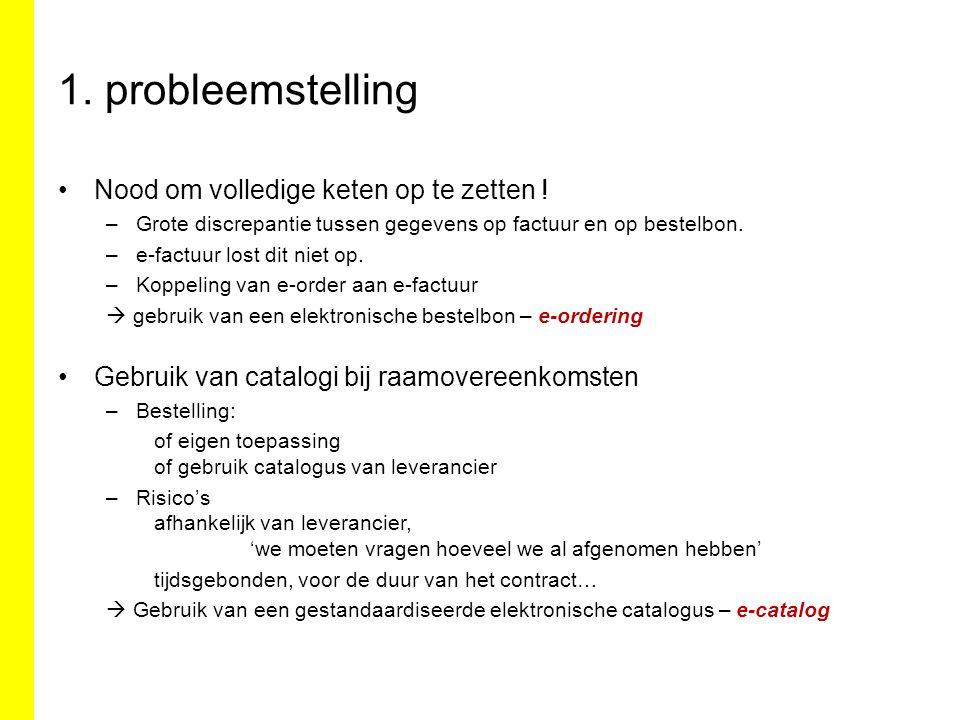 1. probleemstelling Nood om volledige keten op te zetten .