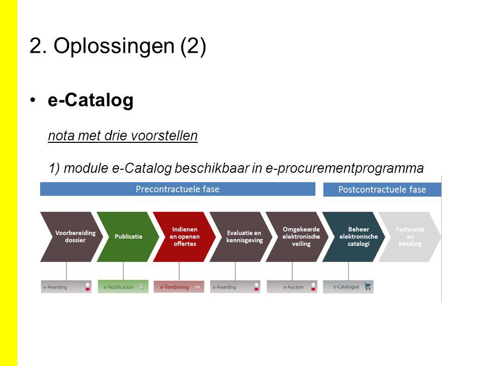 2. Oplossingen (2) e-Catalog nota met drie voorstellen 1) module e-Catalog beschikbaar in e-procurementprogramma