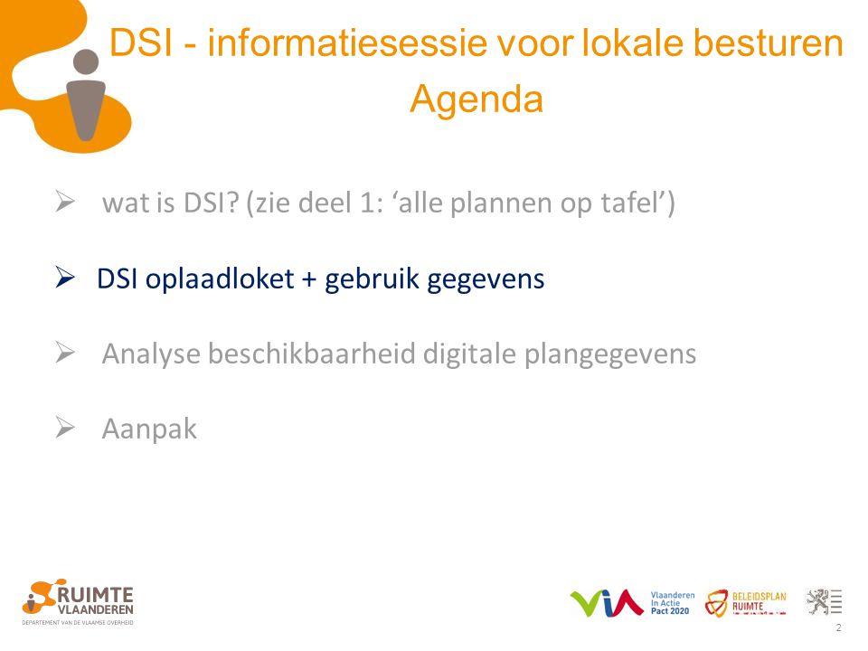 2 DSI - informatiesessie voor lokale besturen Agenda  wat is DSI? (zie deel 1: 'alle plannen op tafel')  DSI oplaadloket + gebruik gegevens  Analys