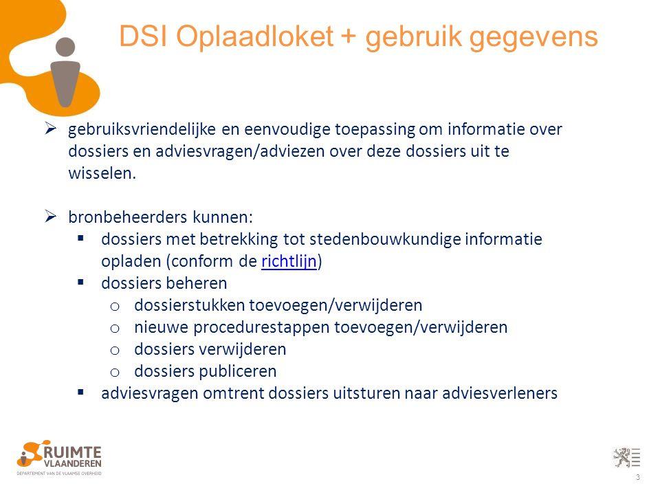 3 DSI Oplaadloket + gebruik gegevens  gebruiksvriendelijke en eenvoudige toepassing om informatie over dossiers en adviesvragen/adviezen over deze do