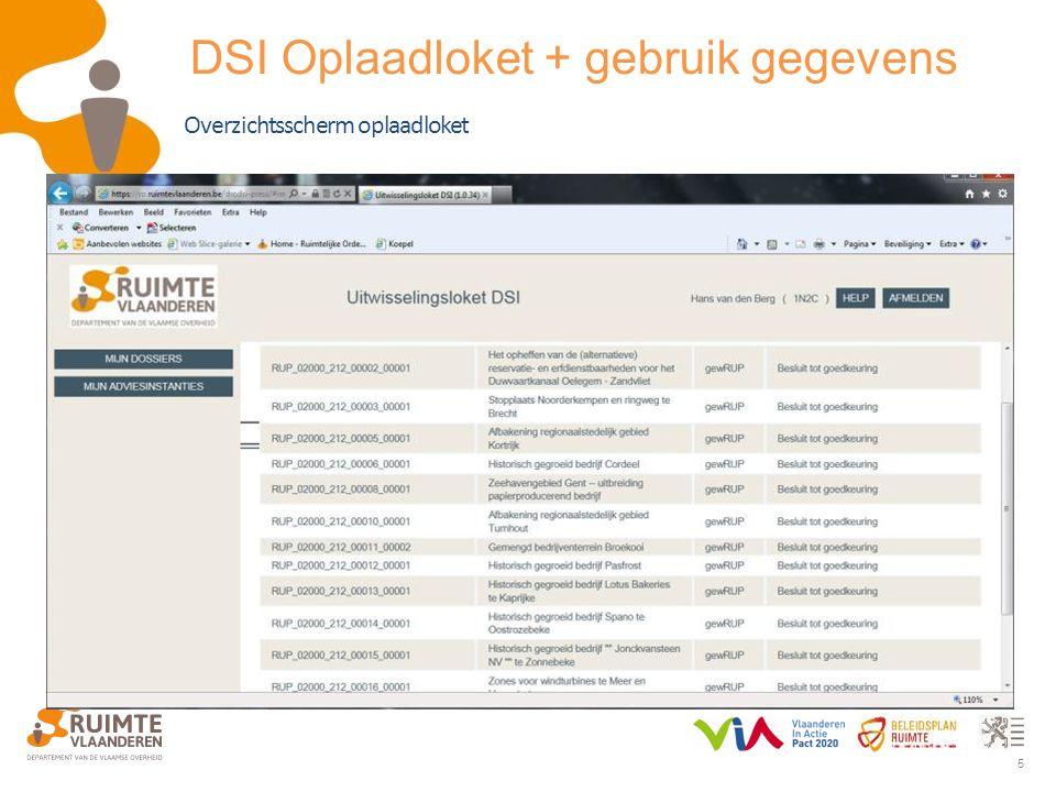 5 Overzichtsscherm oplaadloket DSI Oplaadloket + gebruik gegevens