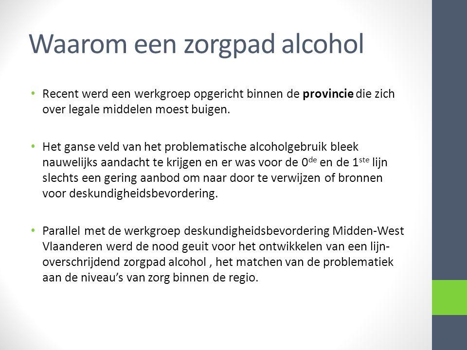 Waarom een zorgpad alcohol Recent werd een werkgroep opgericht binnen de provincie die zich over legale middelen moest buigen. Het ganse veld van het
