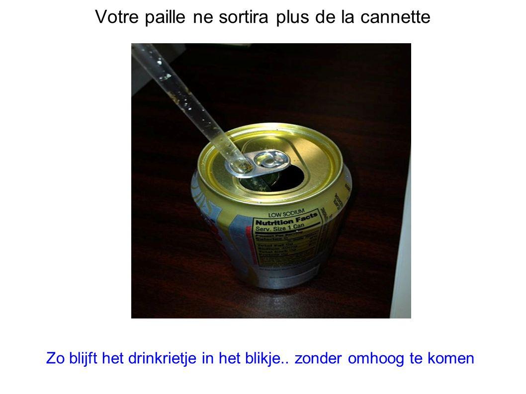 Votre paille ne sortira plus de la cannette Zo blijft het drinkrietje in het blikje..