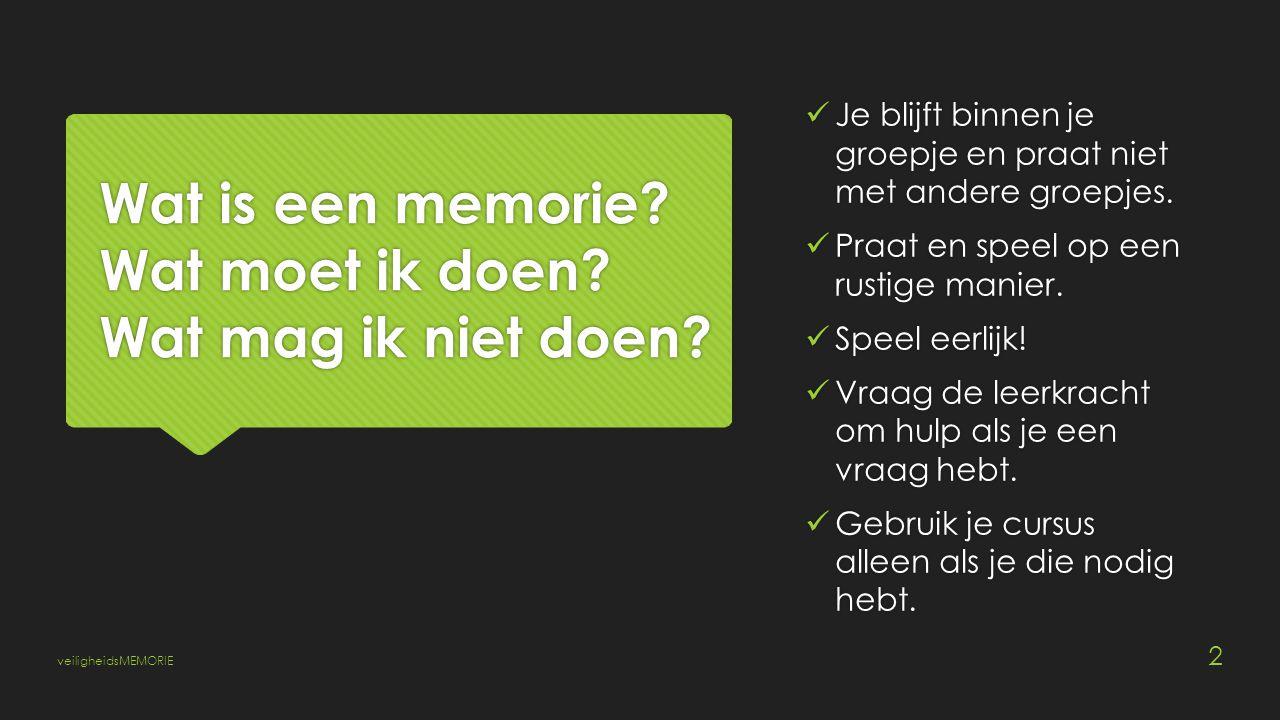 Wat is een memorie. Wat moet ik doen. Wat mag ik niet doen.
