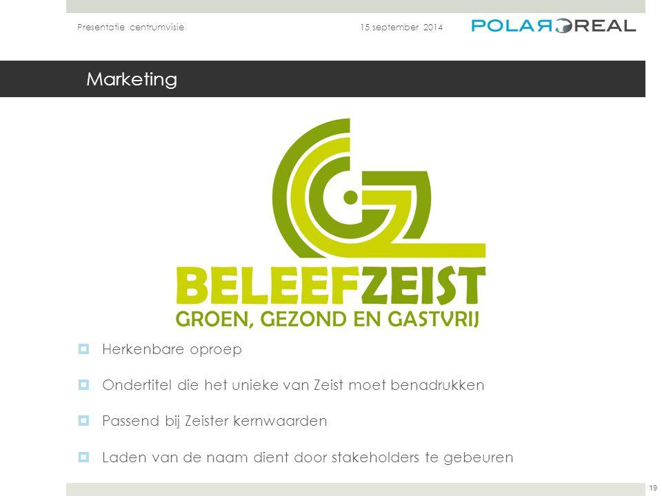 Marketing 15 september 2014Presentatie centrumvisie 19  Herkenbare oproep  Ondertitel die het unieke van Zeist moet benadrukken  Passend bij Zeiste