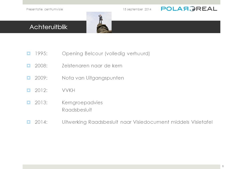 Achteruitblik  1995:Opening Belcour (volledig verhuurd)  2008: Zeistenaren naar de kern  2009: Nota van Uitgangspunten  2012: VVKH  2013: Kerngro