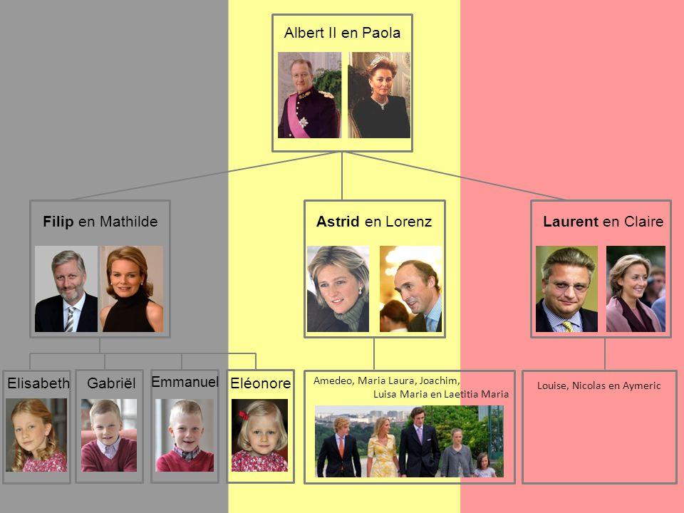 Filip en Mathilde Albert II en Paola Astrid en LorenzLaurent en Claire Elisabeth GabriëlEléonore Emmanuel Amedeo, Maria Laura, Joachim, Luisa Maria en