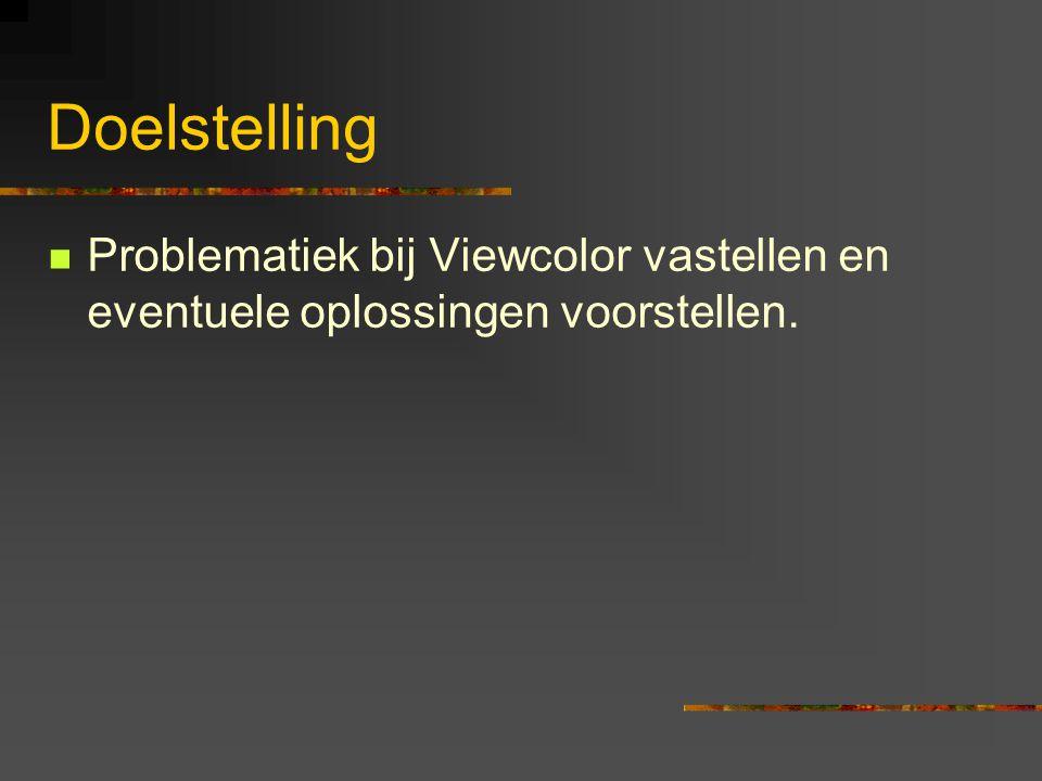 Doelstelling Problematiek bij Viewcolor vastellen en eventuele oplossingen voorstellen.