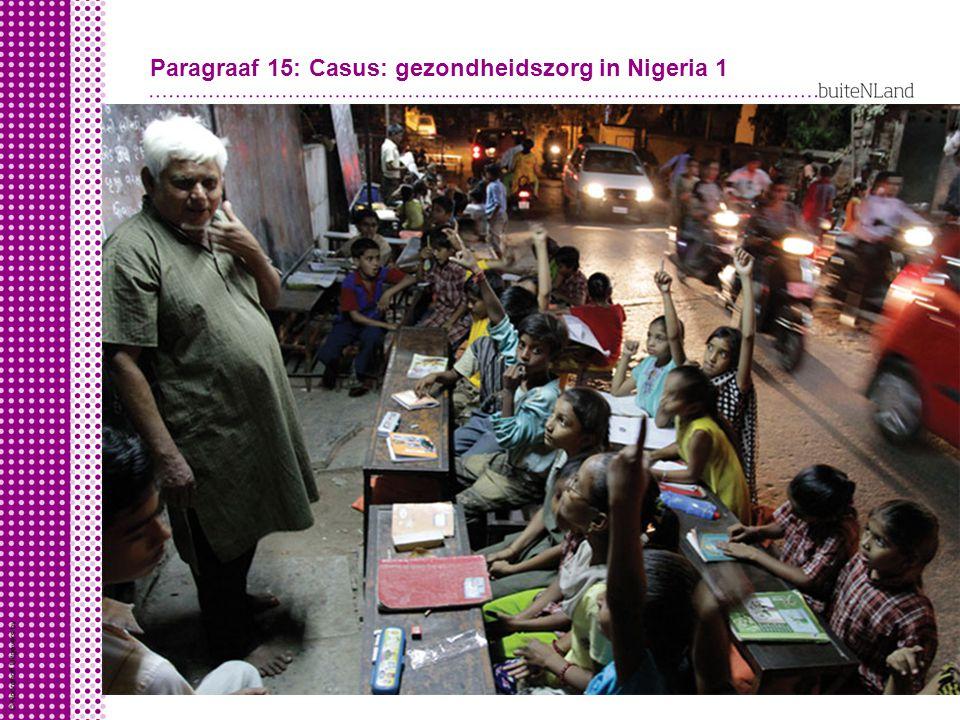 Gezondheid in Nigeria Nigeria is een arm land: koopkracht - 2000 dollar per persoon (NL: 40.000 dollar) levensverwachting - 48 jaar (NL: 81 jaar) kindersterfte – 138 baby's van de 1000 (NL: 4) Slechte gezondheidstoestand in Nigeria door slechte organisatie gezondheidszorg gebruik aan geld
