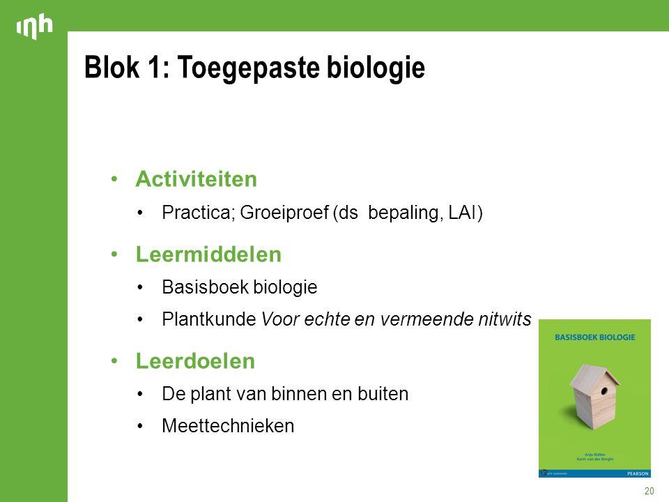 Blok 1: Toegepaste biologie 20 Activiteiten Practica; Groeiproef (ds bepaling, LAI) Leermiddelen Basisboek biologie Plantkunde Voor echte en vermeende