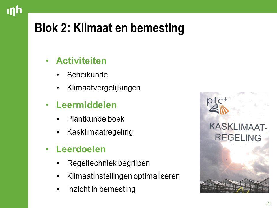 Blok 2: Klimaat en bemesting 21 Activiteiten Scheikunde Klimaatvergelijkingen Leermiddelen Plantkunde boek Kasklimaatregeling Leerdoelen Regeltechniek