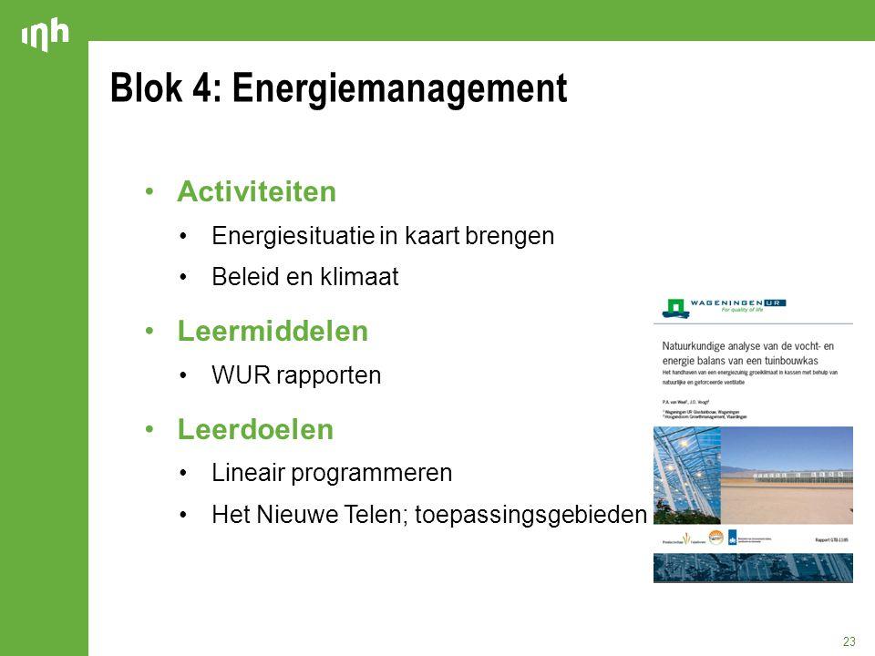 Blok 4: Energiemanagement 23 Activiteiten Energiesituatie in kaart brengen Beleid en klimaat Leermiddelen WUR rapporten Leerdoelen Lineair programmere