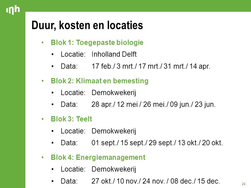 Duur, kosten en locaties 24 Blok 1: Toegepaste biologie Locatie:Inholland Delft Data: 17 feb./ 3 mrt./ 17 mrt./ 31 mrt./ 14 apr. Blok 2: Klimaat en be