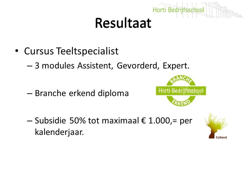 Resultaat Cursus Teeltspecialist – 3 modules Assistent, Gevorderd, Expert. – Branche erkend diploma – Subsidie 50% tot maximaal € 1.000,= per kalender