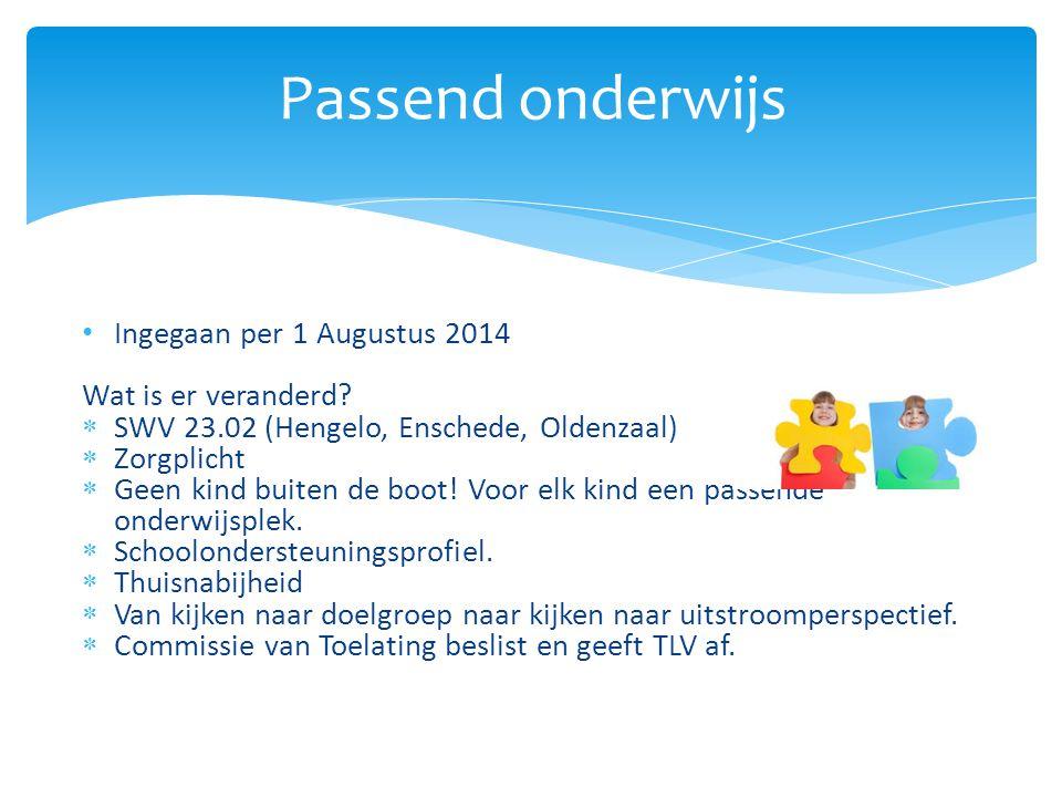 Ingegaan per 1 Augustus 2014 Wat is er veranderd.