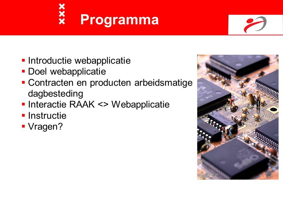 Programma  Introductie webapplicatie  Doel webapplicatie  Contracten en producten arbeidsmatige dagbesteding  Interactie RAAK <> Webapplicatie  I