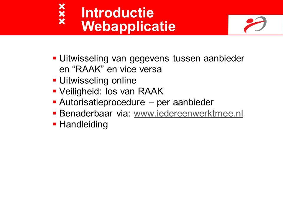 " Uitwisseling van gegevens tussen aanbieder en ""RAAK"" en vice versa  Uitwisseling online  Veiligheid: los van RAAK  Autorisatieprocedure – per aan"