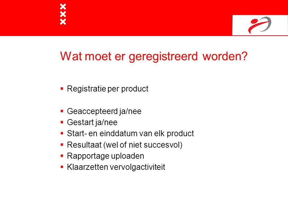 Wat moet er geregistreerd worden?  Registratie per product  Geaccepteerd ja/nee  Gestart ja/nee  Start- en einddatum van elk product  Resultaat (