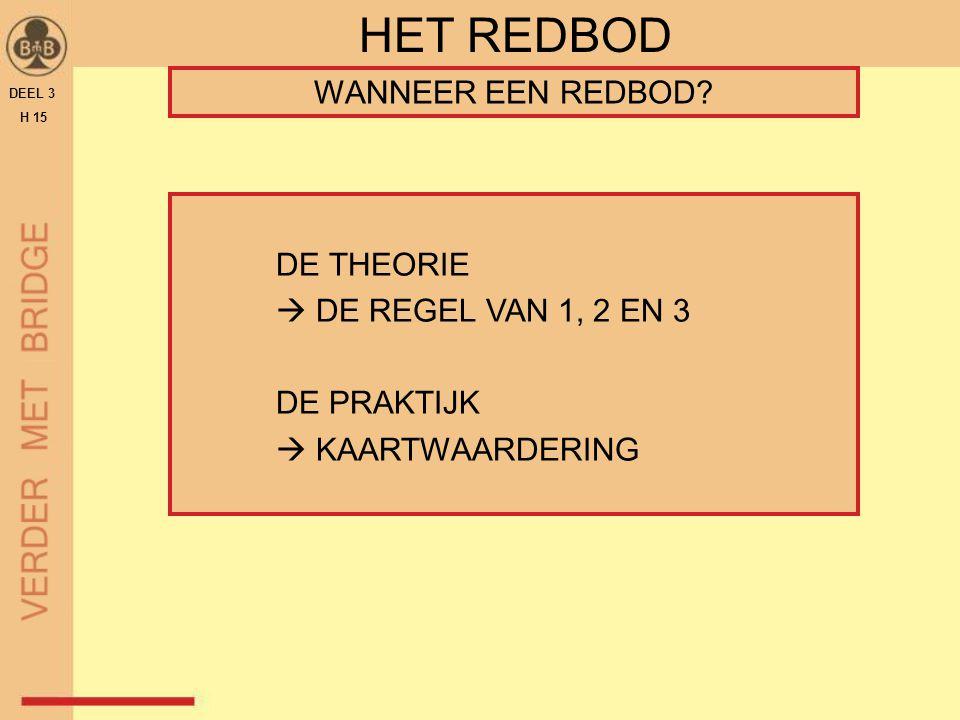 DE THEORIE  DE REGEL VAN 1, 2 EN 3 DE PRAKTIJK  KAARTWAARDERING DEEL 3 H 15 HET REDBOD WANNEER EEN REDBOD?