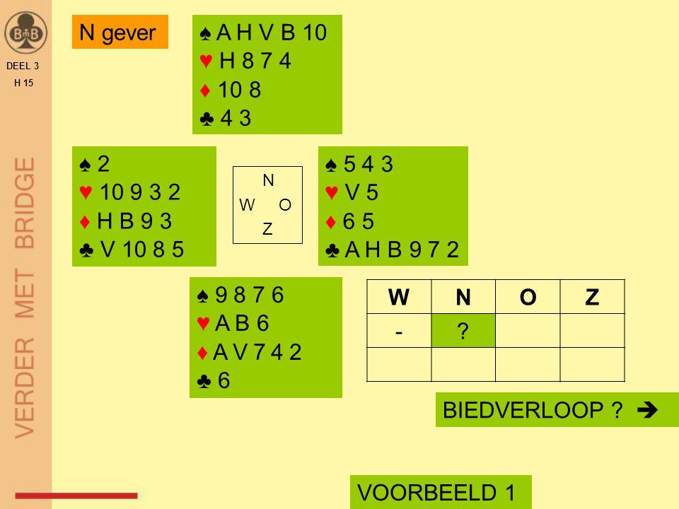 ♠ 2 ♥ 10 9 3 2 ♦ H B 9 3 ♣ V 10 8 5 N W O Z BIEDVERLOOP ?  VOORBEELD 1 ♠ A H V B 10 ♥ H 8 7 4 ♦ 10 8 ♣ 4 3 ♠ 9 8 7 6 ♥ A B 6 ♦ A V 7 4 2 ♣ 6 WNOZ -?