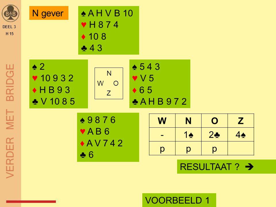 ♠ 2 ♥ 10 9 3 2 ♦ H B 9 3 ♣ V 10 8 5 N W O Z VOORBEELD 1 ♠ A H V B 10 ♥ H 8 7 4 ♦ 10 8 ♣ 4 3 ♠ 9 8 7 6 ♥ A B 6 ♦ A V 7 4 2 ♣ 6 WNOZ -1♠1♠2♣2♣4♠4♠ ppp ♠