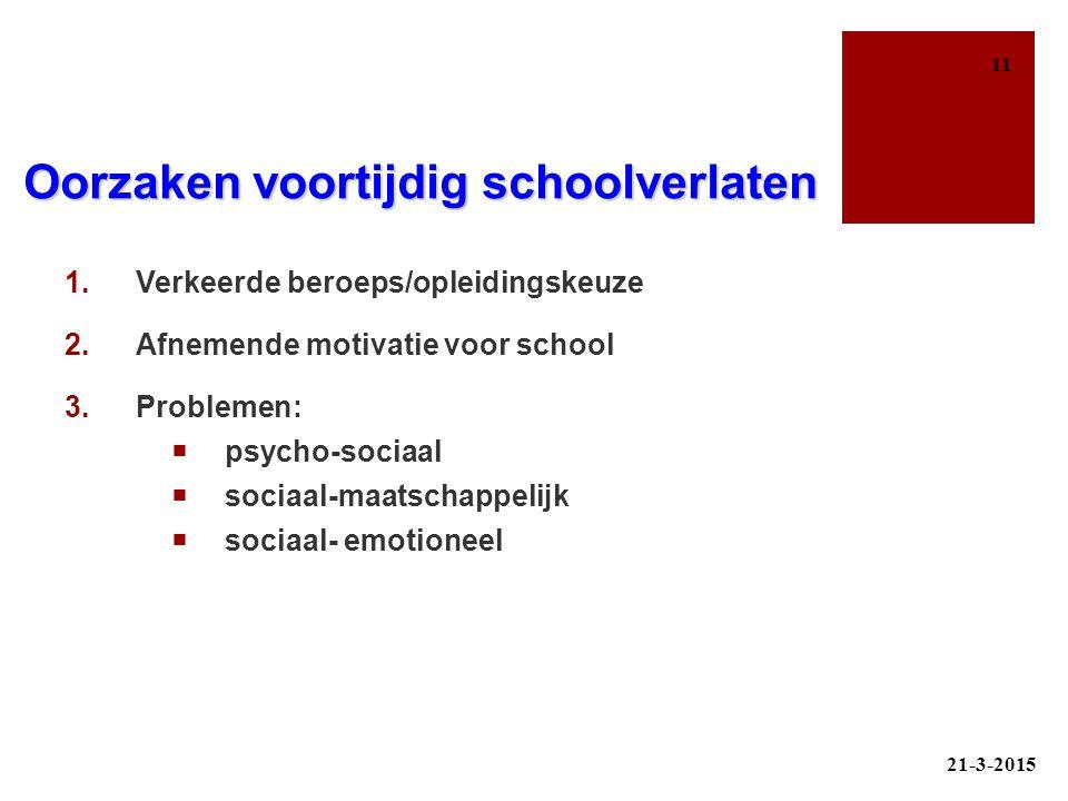 Oorzaken voortijdig schoolverlaten 1.Verkeerde beroeps/opleidingskeuze 2.Afnemende motivatie voor school 3.Problemen:  psycho-sociaal  sociaal-maats