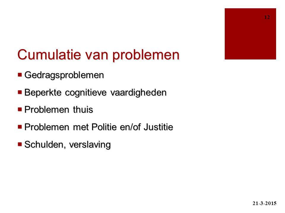 Cumulatie van problemen  Gedragsproblemen  Beperkte cognitieve vaardigheden  Problemen thuis  Problemen met Politie en/of Justitie  Schulden, ver